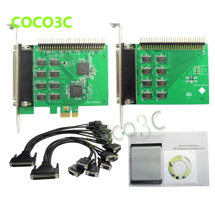PCI e to 16 Ports RS232 DB9 converter + 2 fan out cable 16 Ports Serial PCI Express card Industrial I/O card