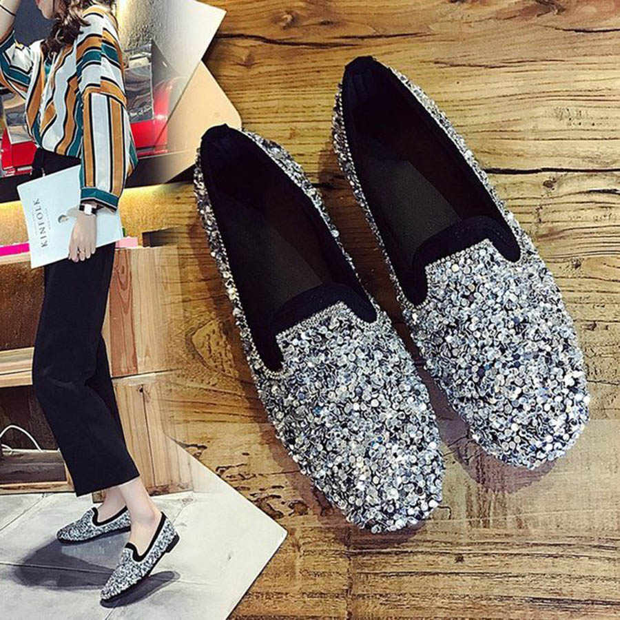 fashion new Womens Round Toe Flat Glitter Slip on Loafer Bling Sequins Shoes
