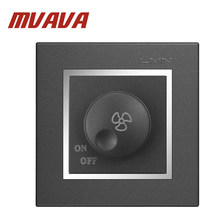 New Arrival MVAVA Ceiling Fan Speed Control on/off Switch Wall Dimmer switch AC220V 10A Chromed Flame Panel(China)
