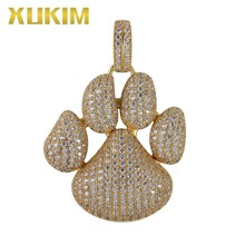 Xukim Jewelry Silver Gold Color Cubic Zirconia Iced Out Paw Dog Cat Claw Pendant Necklace Hip Hop Jewelry цены