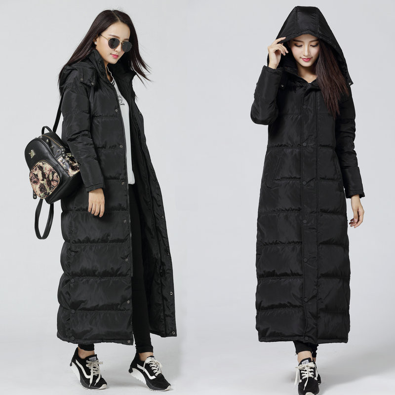 Black Down Parkas Winter Jacket Women Thicken Hooded Women's Down Jacket Manteau Femme Long Jacket Female Warm Maxi Parka C2729 bishe women winter down jacket warm long parka femme 2017 faux fur collar hooded cotton padded parkas female manteau femme 4xl