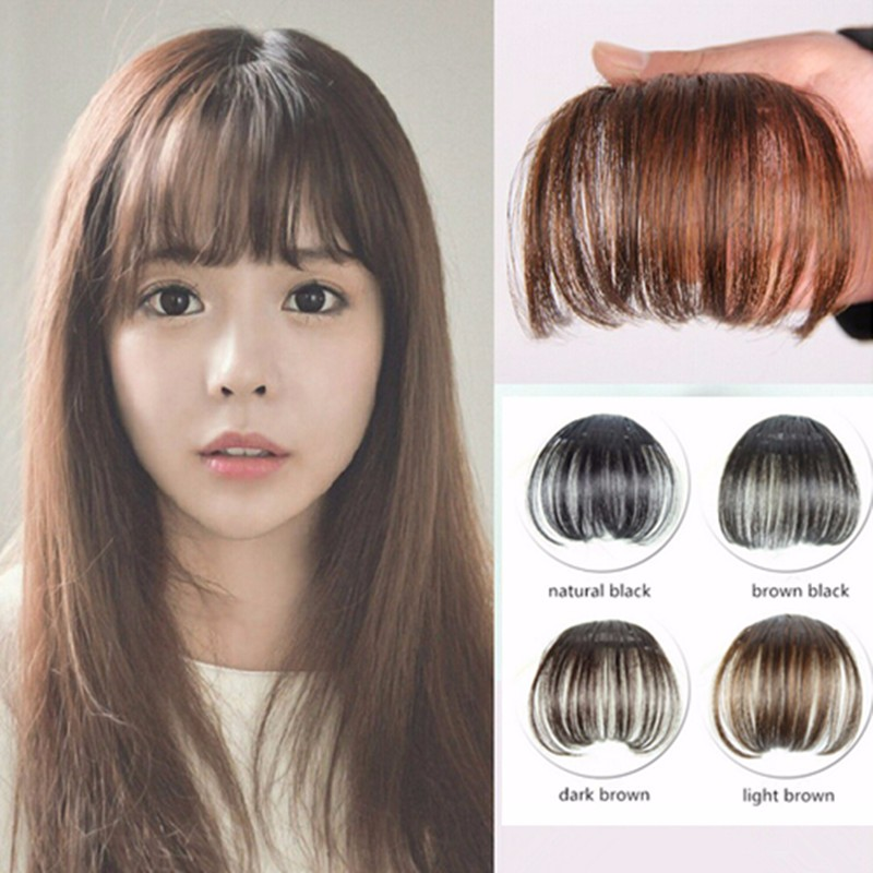 1pc thin light bangs clip in on front neat bang for women fake clip