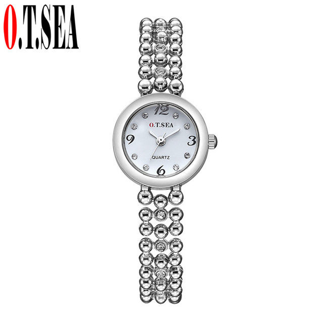 Hot Sales O.T.SEA Brand Rose Gold Bracelet Watches Women Ladies Rhinestone Cryst