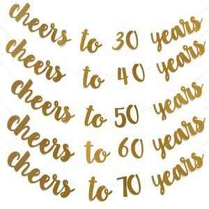 Image 1 - 골든 글리터 건배 30 40 50 60 70 년 영어 편지 문자열 플래그 생일 파티 배너 웨딩 파티 용품 장식품