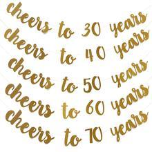 Glitter dourado Cheers Para 30 40 50 60 70 Anos Inglês Carta Bandeira Corda Bandeira Da Festa de Aniversário Fontes Do Partido de Casamento Ornamento