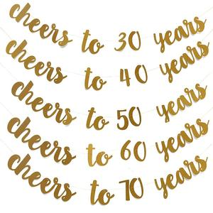 Image 1 - Golden Glitter Cheers To 30 40 50 60 70 Years English Letter String Flag Birthday Party Banner Wedding Party Supplies Ornament