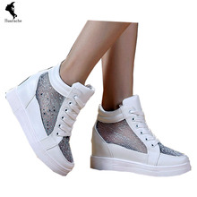 Fashion Casual Breathable Heighten Women Shoes Cloth Strap Solid Shoe Walking Cut outs Girl Leisure White Newly Winter Shoes