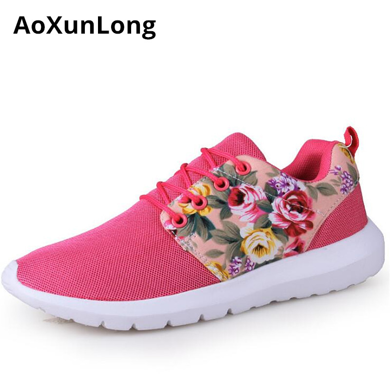 Woman Shoes Sneakers Printed Breathable Fashion Women's New Size Red Aoxunlong Zapatos-De-Mujer