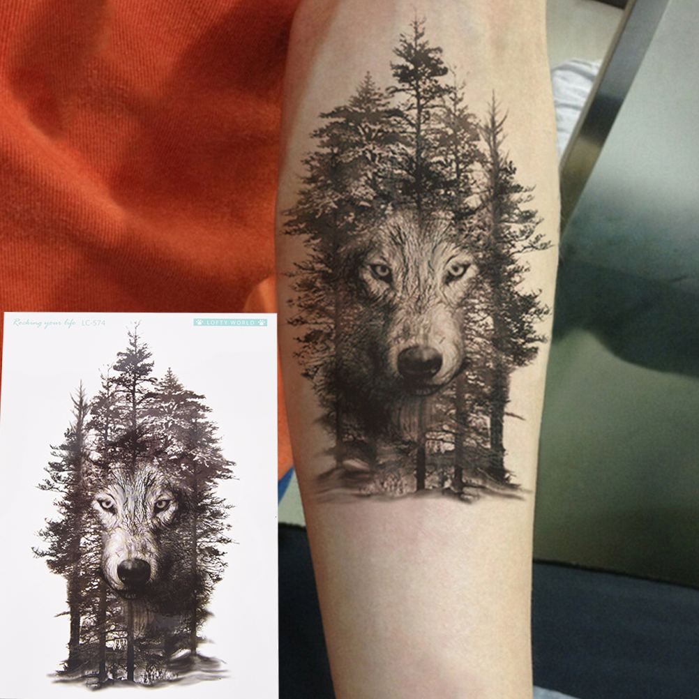 New Arrival 1pc Temporary Forest Wolf Tatto Stickers Waterproof Tattoo Sticker Flash Tatoo Fake Tattoos For Women Men