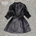 Rompevientos abrigos de cuero de las mujeres 100% de piel de Cordero genuino negro correa delgada Larga trinchera abrigo abrigos mujer casaco feminino LT184