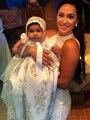 2016 Niña Noble Vestido De Bautismo Bautizo Vestido de Túnica Vestido de noiva Apliques de Encaje de Flores Bebé 0-24month