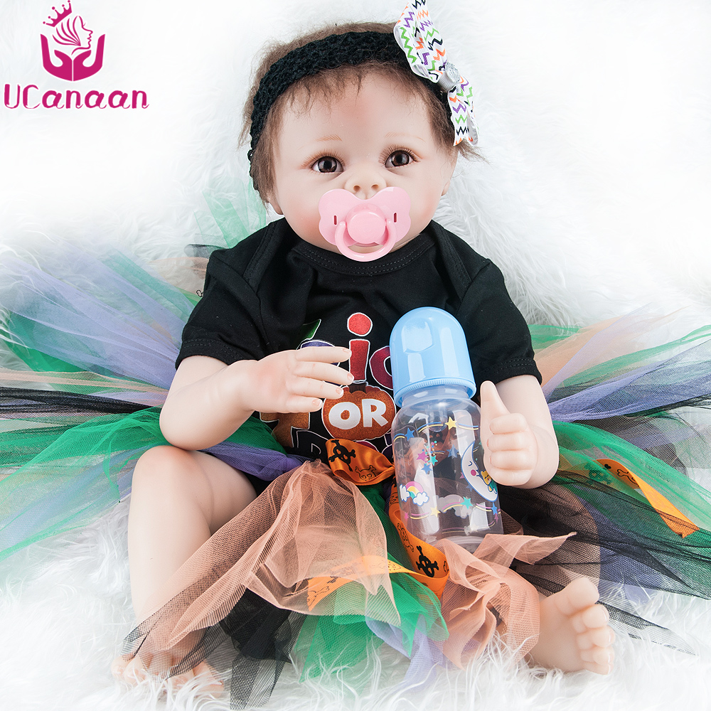 UCanaan Reborn Baby Dolls Realistic Soft Cloth Body Handmade Lifelike Reborn Babies Doll Toys Baby Sleeping Partners 50-55CM partners cd