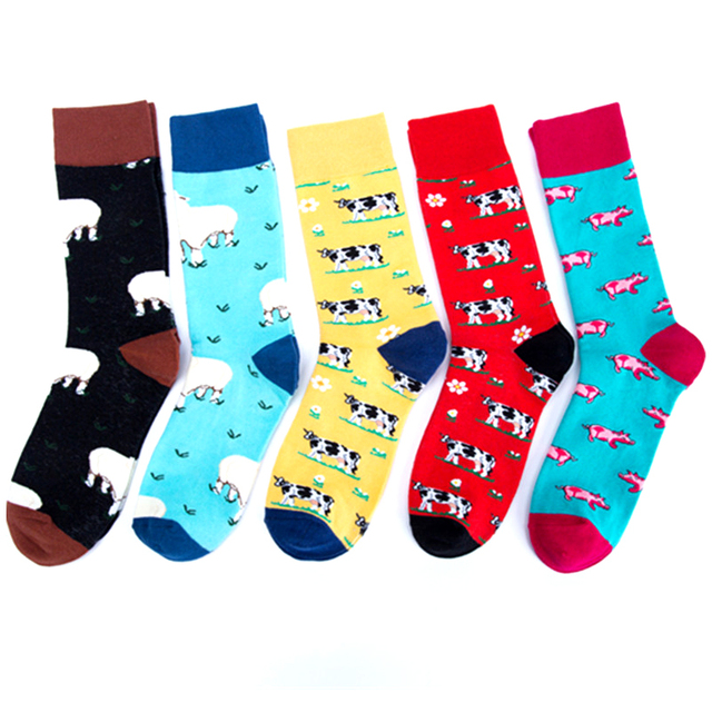 2018 Farm Animal Sheep Cow Pig Premium Funky Men Women Socks Happy Short Bamboo Male Cotton Pop Crazy Female Trekking Socks
