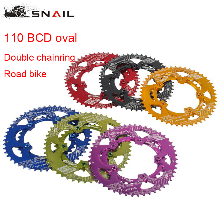 Snail Double 2 Layer Speed Chainring 110 BCD Oval 50/35T for Shimano Sram FSA Road Folding Bike Ultralight Tooth plate 110BCDSnail Double 2 Layer Speed Chainring 110 BCD Oval 50/35T for Shimano Sram FSA Road Folding Bike Ultralight Tooth plate 110BCD