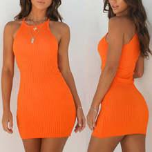 b2f1a13836f Nouveau femmes dames robes Sexy été sans manches réservoir Slim Mini court  tricoté moulante robe d été Orange noir