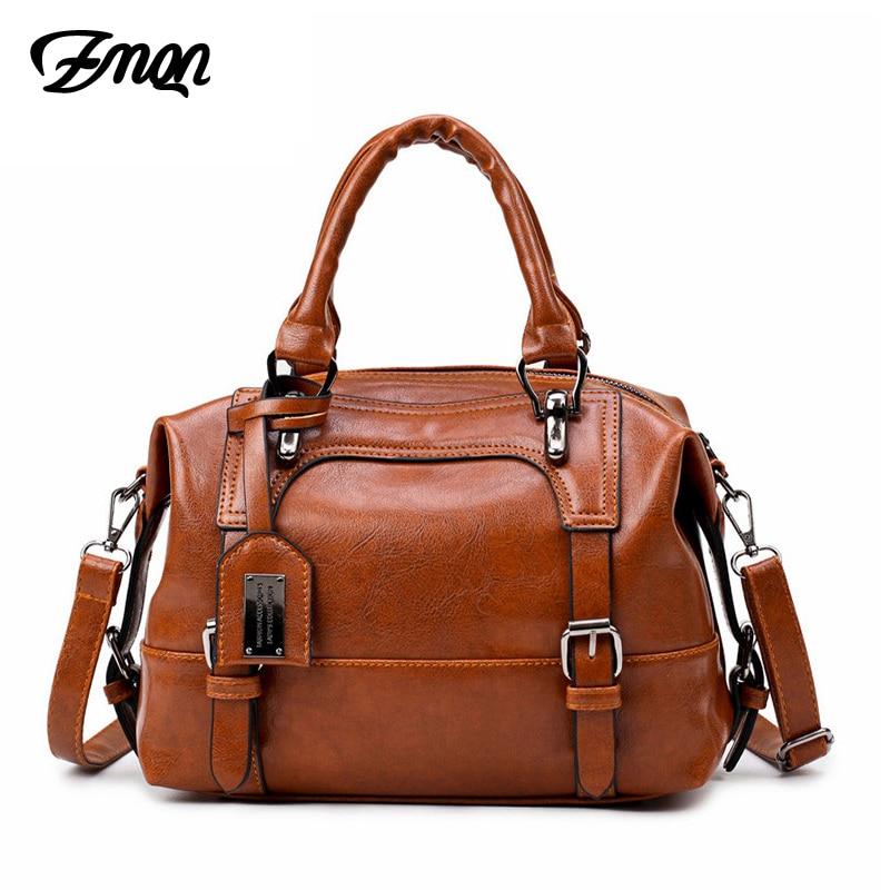 ZMQN Crossbody Bags For Women 2018 Vintage Shoulder Bag Of Women Handbag Soft Leather Boston Cheap Women Bag Bolsa Feminina C608
