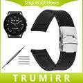 22mm de caucho de silicona correa para el vector luna meridiano smart watch band correa de cierre de acero inoxidable pulsera de la resina negro + herramienta