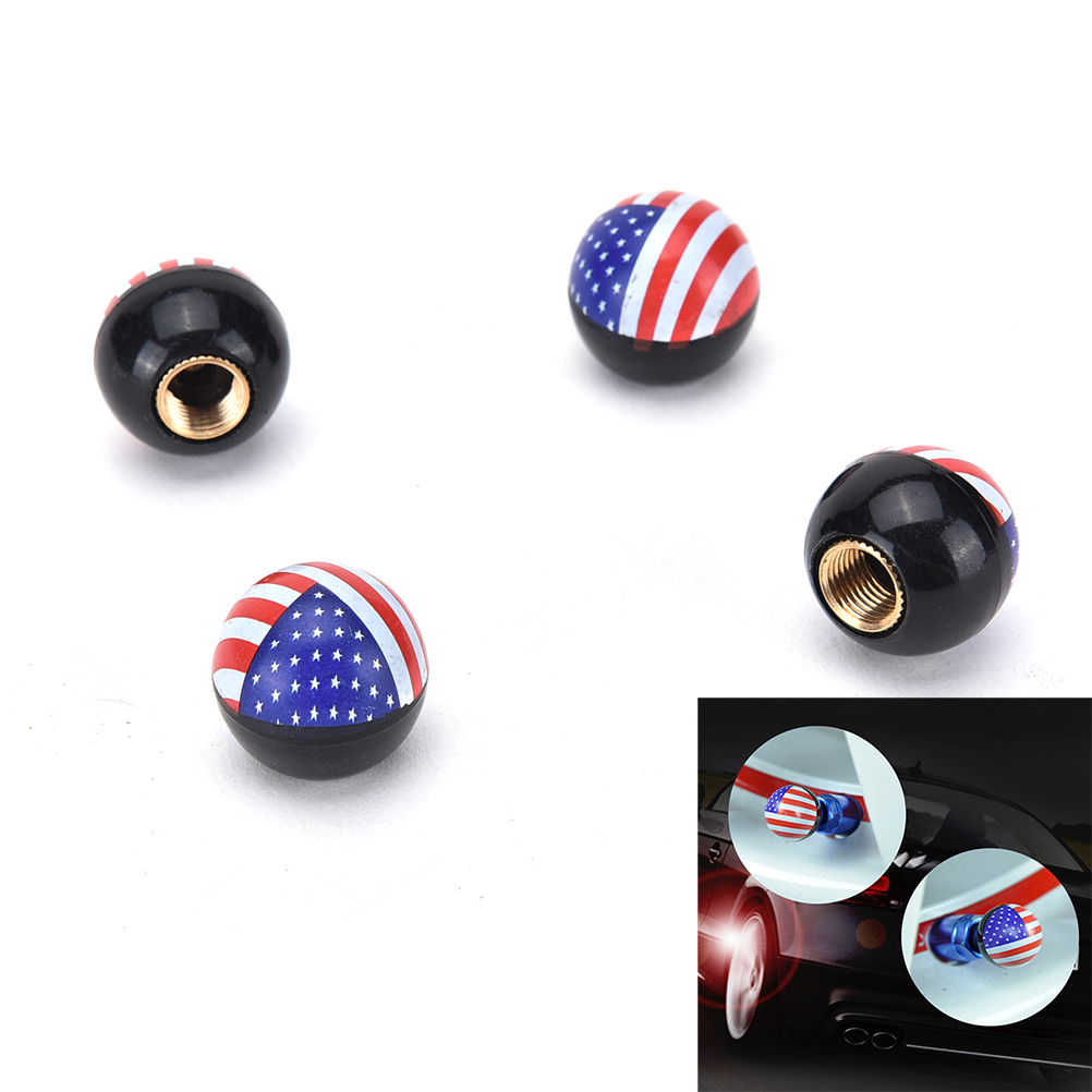 4 Pieces Black Motorcycle Car Bicycle Ianify Stylish Barrel Aluminium Valve Cap for Schrader Valve
