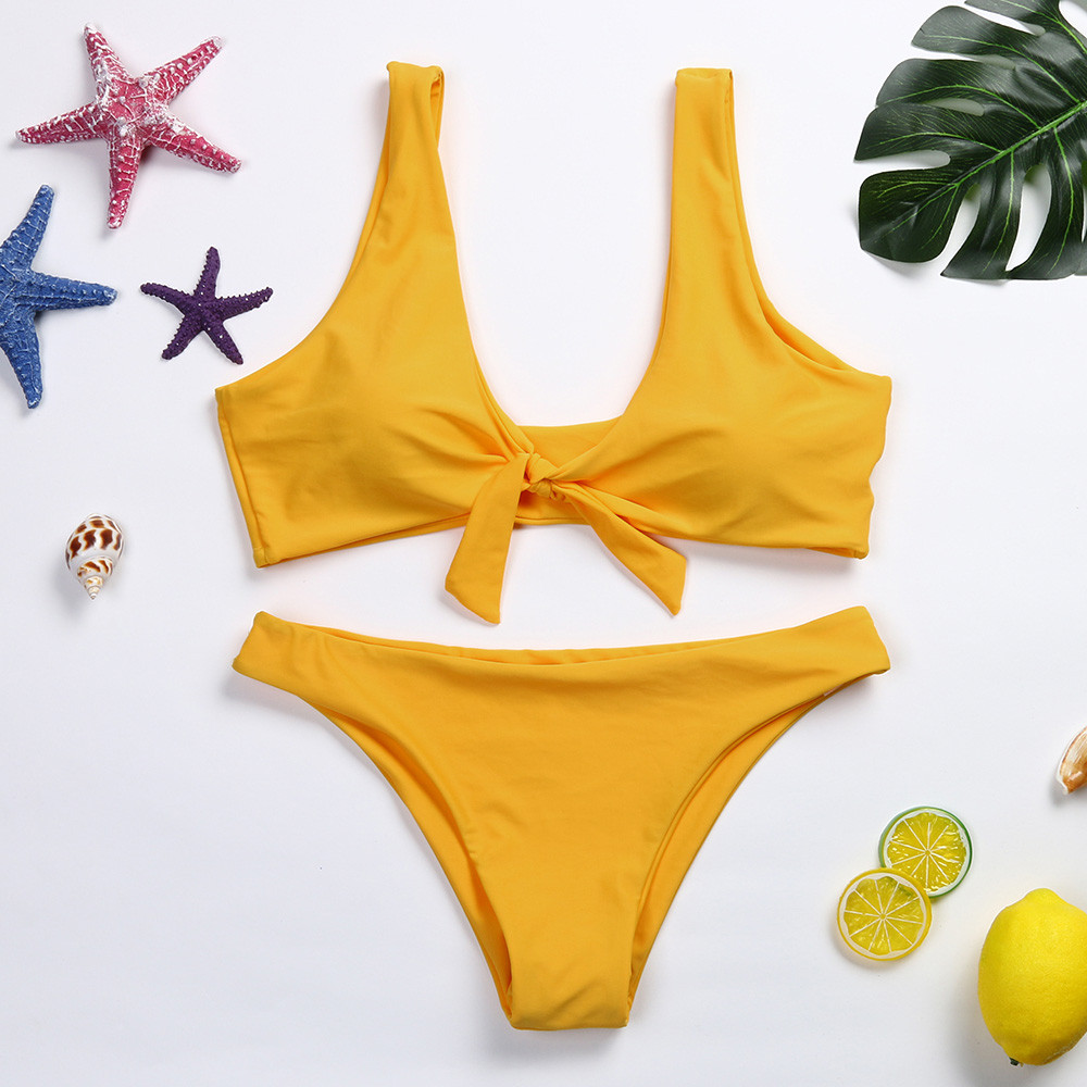 2018 Women Knotted Padded Thong Mid Waisted Scoop Swimsuit Beach Swimwear Bra Swiming Suit Beach crochet Set