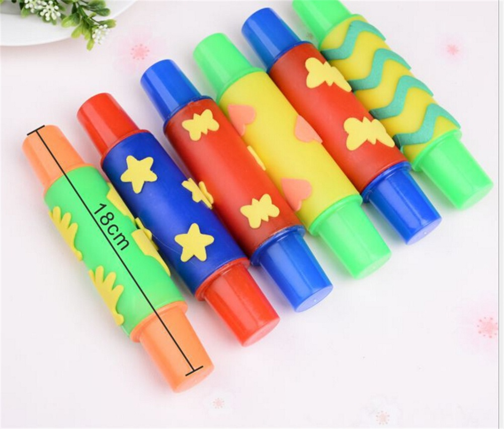 Pino de rolamento ntelligent plasticina argila molde ferramenta diy flores decoração rolo escova selo crianças brinquedos plasticina modelo 18cm