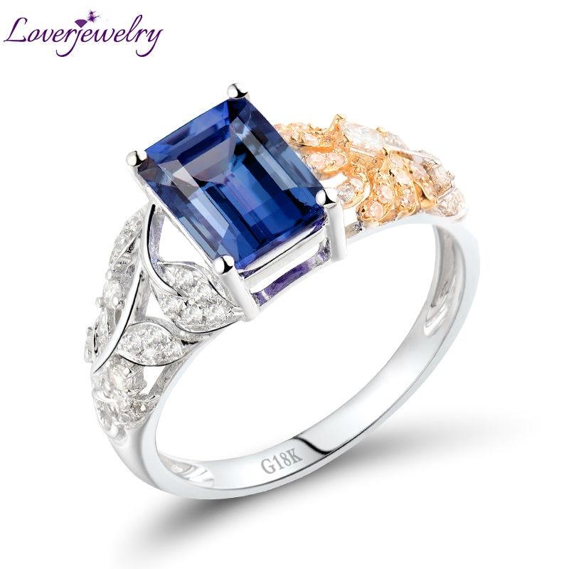 купить Natural Emerald Cut 6x8mm Tanzanite 18K Two tone White Yellow Gold Natural Diamond Wedding Ring Design Jewelry WU287 по цене 57933.87 рублей