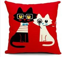 Cushion Cover Dog Lovely Cartoon Animals Printed Cotton Linen Valentine Pillow Covers Decorative Pillowcase For Sofa Jojo Siwa недорого