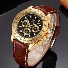 купить OUYAWEI Automatic Self Wind Mens Montre Homme Watch Leather Strap Waterproof Luxury Style Male Black Wristwatch Reloj Masculino дешево