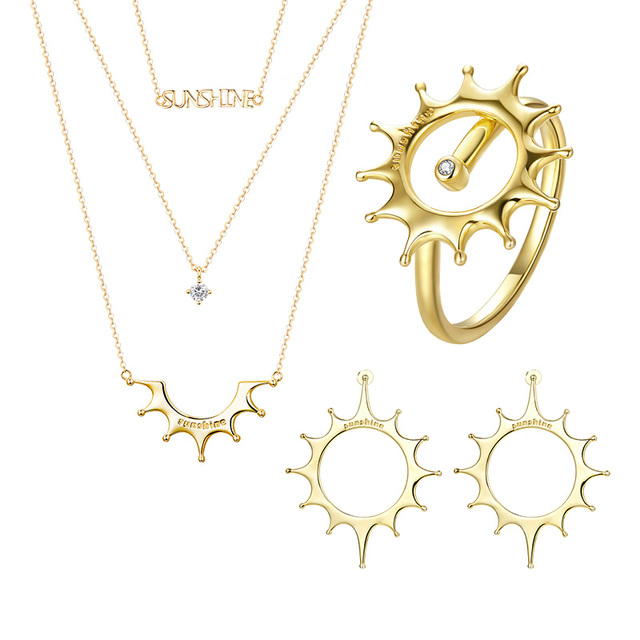 BISAER Chic Gold Color Sun Multi Layers Chain Choker Necklace Eearrings Rings Jewelry Sets 2019 Valentine Gifts for Women GU171