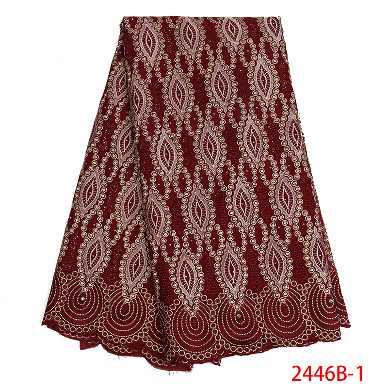 High Quality Wine African Swiss Voile Lace 2019 African Swiss Cotton Voile Lace Fabric For Men