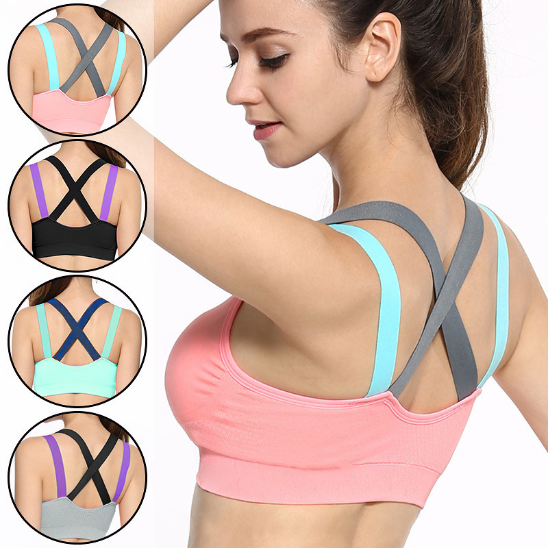 Cross Strap Back Women Sports Bra Professional Quick Dry Padded Shockproof Gym Fitness Running Yoga Sport Brassiere Tops бытовая химия vanish oxi action отбеливатель для белых тканей кристальная белизна 2 л