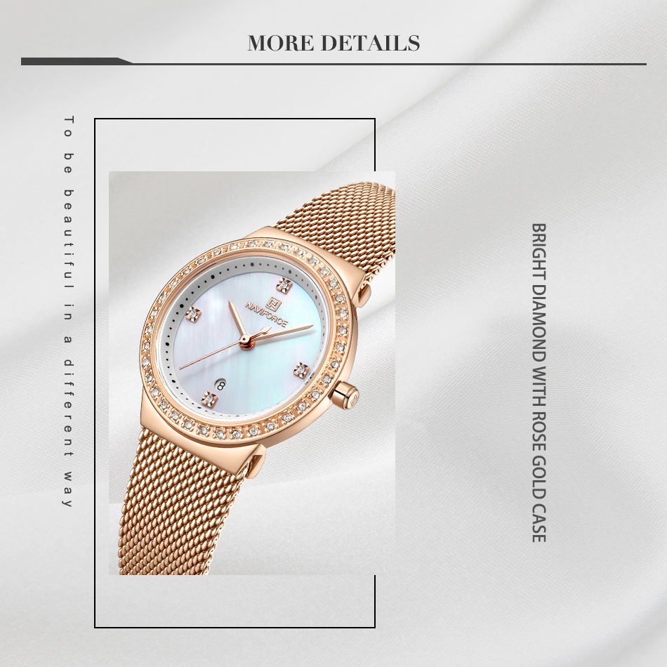 NAVIFORCE New Rose Gold Women Watch Business Quartz Watch Ladies Top Brand Luxury Female Wrist Watch Girl Clock Relogio Feminin (4)