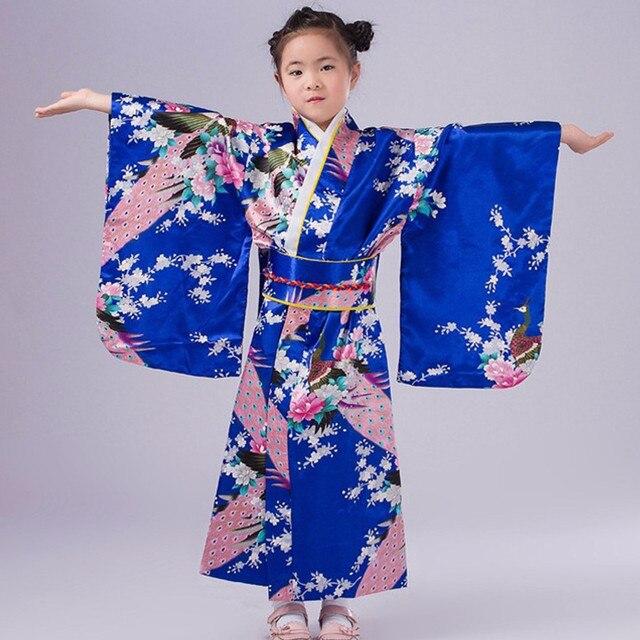 Мода Синий Японские Девушки Юката Кимоно Платье Традиция Малыш Малыш Девушка Танцевальные Костюмы для Детей Косплей Платье Цветочные