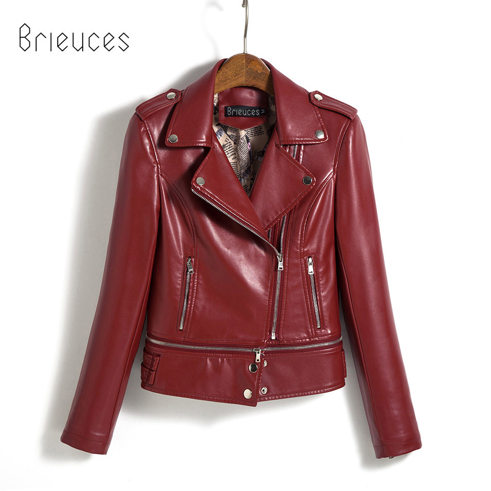 Brieuces 2017 New Fashion Women Faux Leather Jackets Lady Bomber Motorcycle Cool Outerwear Coat Lower Edge Detachable