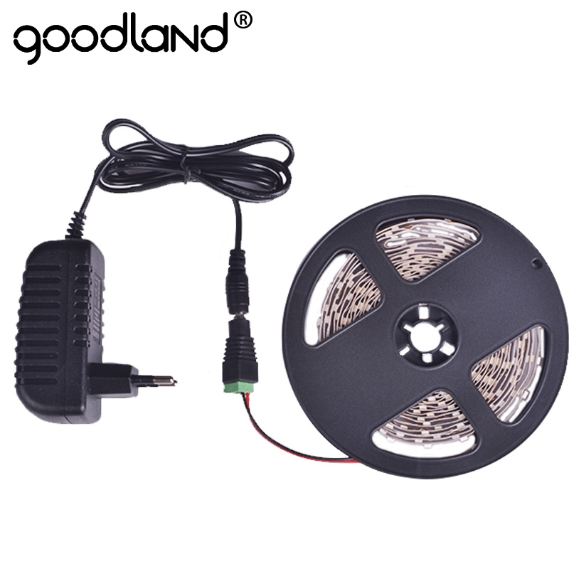 Goodland LED Strip light SMD3528 5m Single Color Flexible Lamp Light,Power Supply 2A DC12V Red Green Blue Yellow Warm/Cold White 12w 6500k 1100lm 150 smd 3528 led white light flexible lamp strip dc 12v 5m