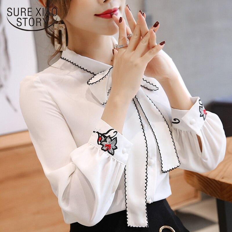 Mulheres blusa de manga comprida 2019 camisa das mulheres chiffon arco patchwork roupas femininas branco e vermelho cor OL blusa feminina 0726 30