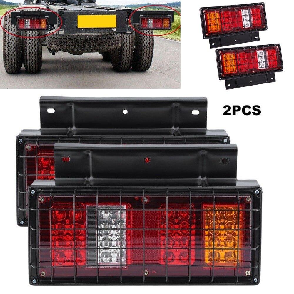 2x12 V cadre en fer filet couverture voiture camion LED feux arrière arrière feux d'avertissement clignotant lampe arrière pour remorque caravanes UTE camping-cars