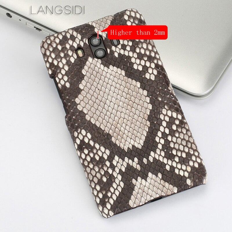 Wangcangli pour Huawei Mate 10 luxe fait à la main en peau de python véritable coque de téléphone en cuir véritable coque de téléphone - 3