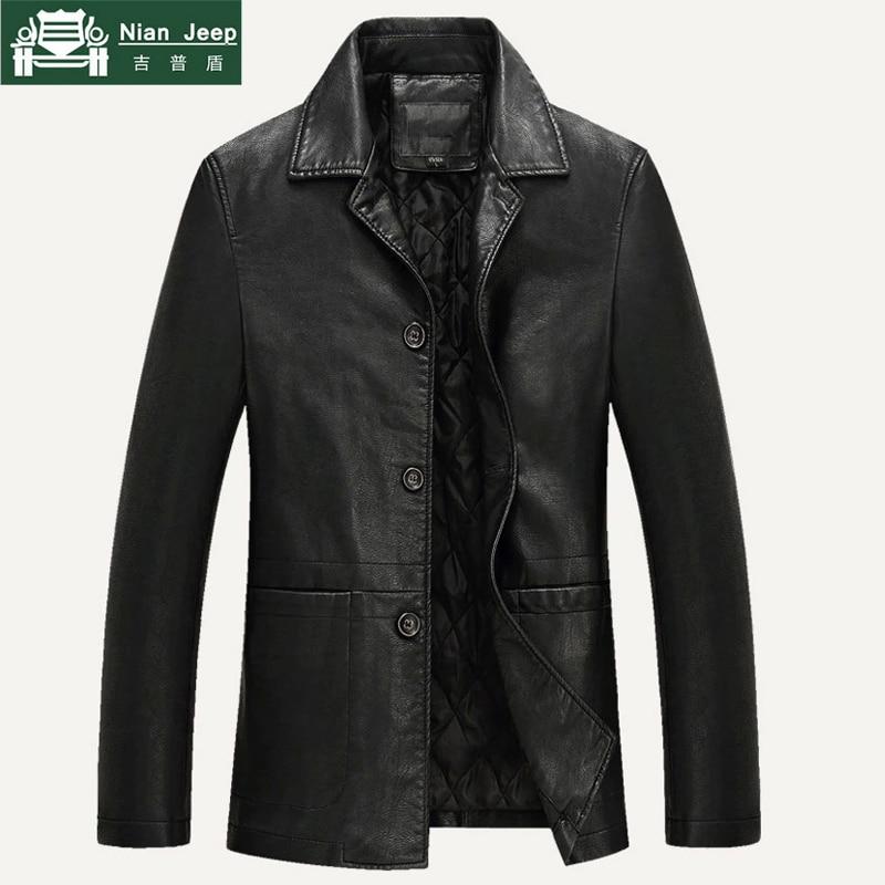 Leather Jacket Men 2018 New Business Warm Liner Comfortable Mens PU Leather Jacket & Coat Jaqueta Masculinas Plus Size M-4XL