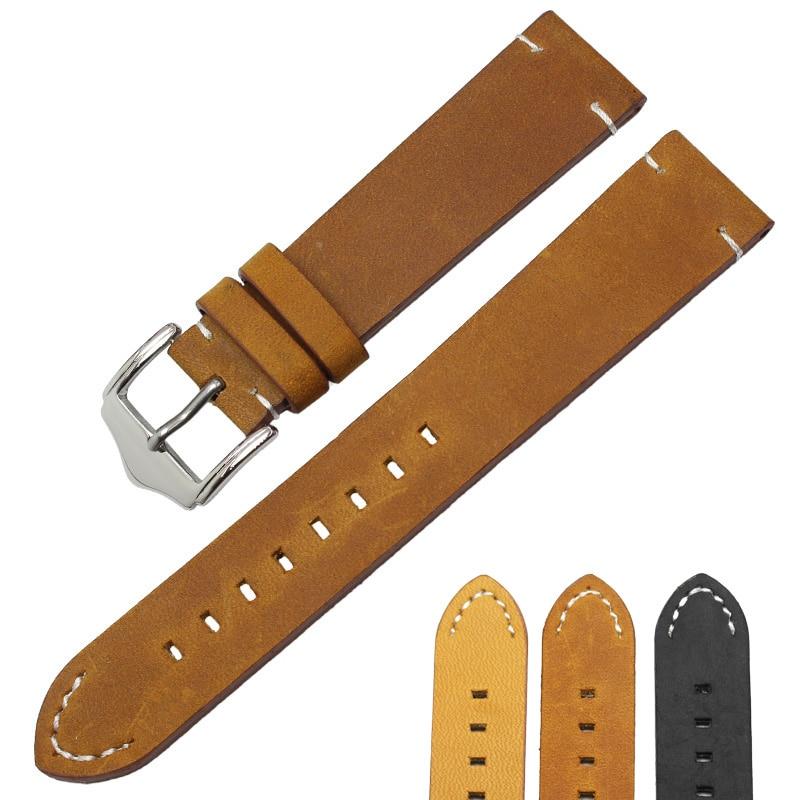 Handmade Genuine Leather Watch Strap Belt 18 20 22mm Black Dark Brown Vintage Watchbands Stainless Steel Buckle