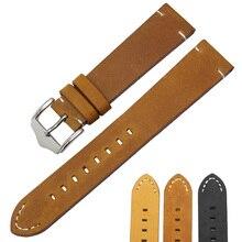 Handmade Genuine Leather Watch Strap Belt 18 20 22mm Black Dark Brown Vintage Watchbands Stainless Steel Buckle стоимость