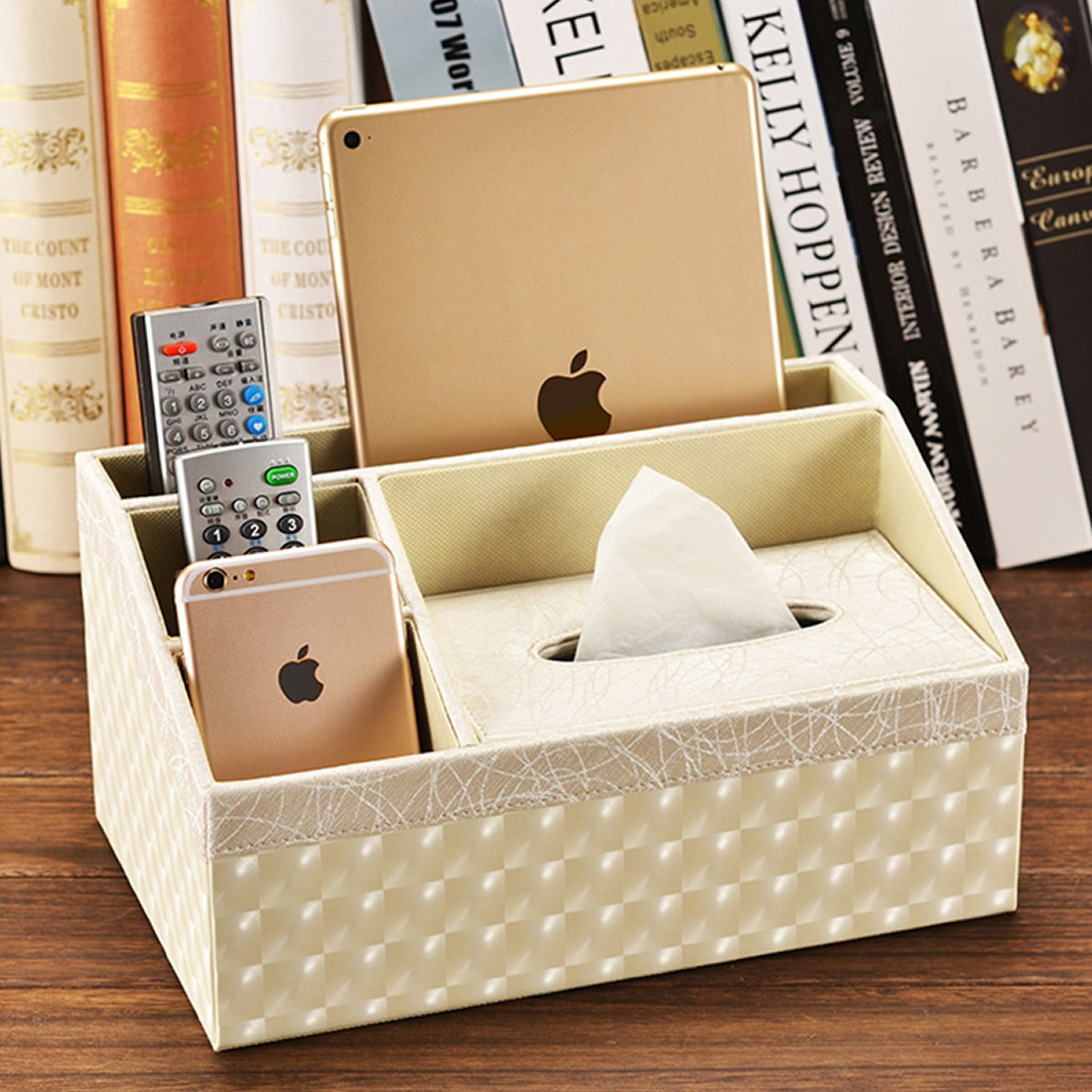 Multifunctional Storage Boxs with Tissue Box Remote Control Phone Holder Home Office Car Organizer Cosmetic Make