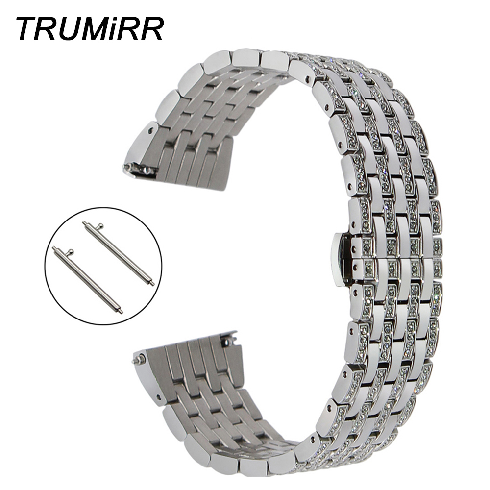 Crystal Diamond Watchband 18mm 20mm 22mm for Tissot Longines Mido Quick Release Watch Band Stainless Steel Strap Wrist Bracelet image