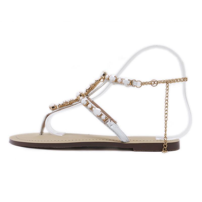 HTB1kOdYgRjTBKNjSZFNq6ysFXXaN 6 Color Woman Sandals Women Shoes Rhinestones Chains Thong Gladiator Flat Sandals Crystal Chaussure Plus Size 46 tenis feminino