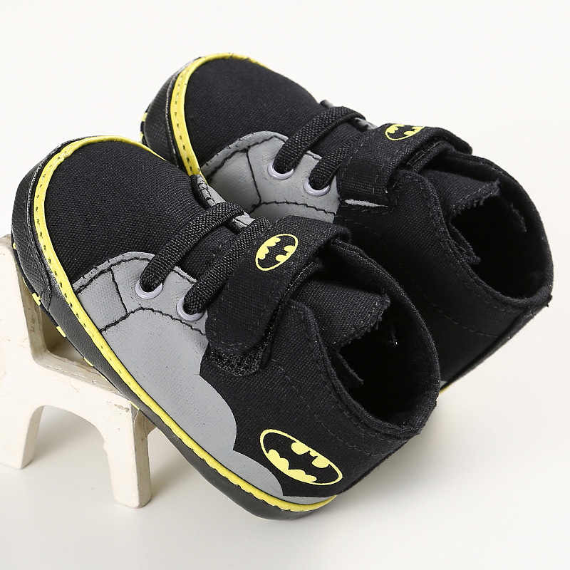 ROMIRUS Newborn Baby Shoes Infant Toddler Cartoon Batman Fashion Lace-Up Baby Girl Boy Kids First Walkers Soft Sole Sneakers