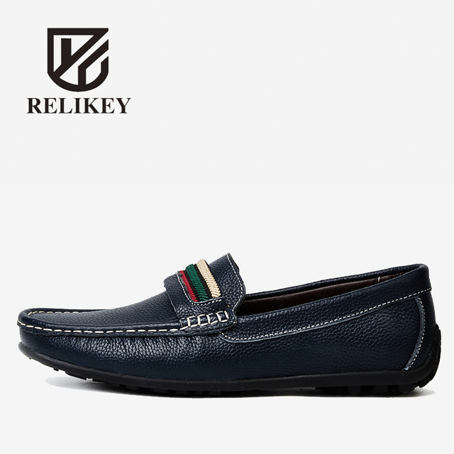 Men's Driving Shoes Soft Flats Leather Casual Slip On Loafers Shoes