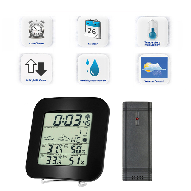 Wireless Weather Station Clock Digital Lcd Indoor Outdoor Thermometer Temperature Alarm Hygrometer Calendar Function