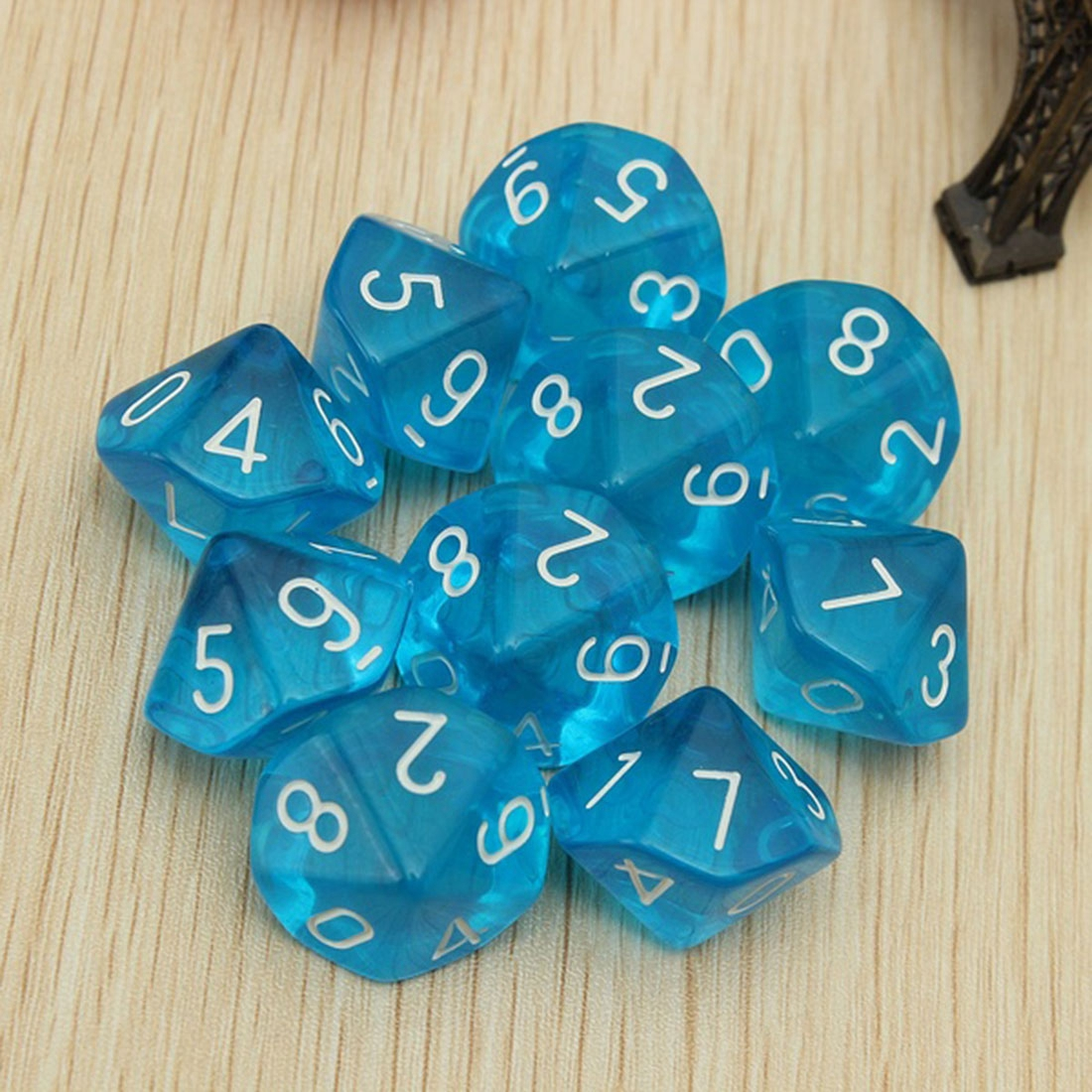 10-Dices D10 Ten Sided Gem Dice Die For RPG Dungeons&Dragons Board Table Games (7 Colors)