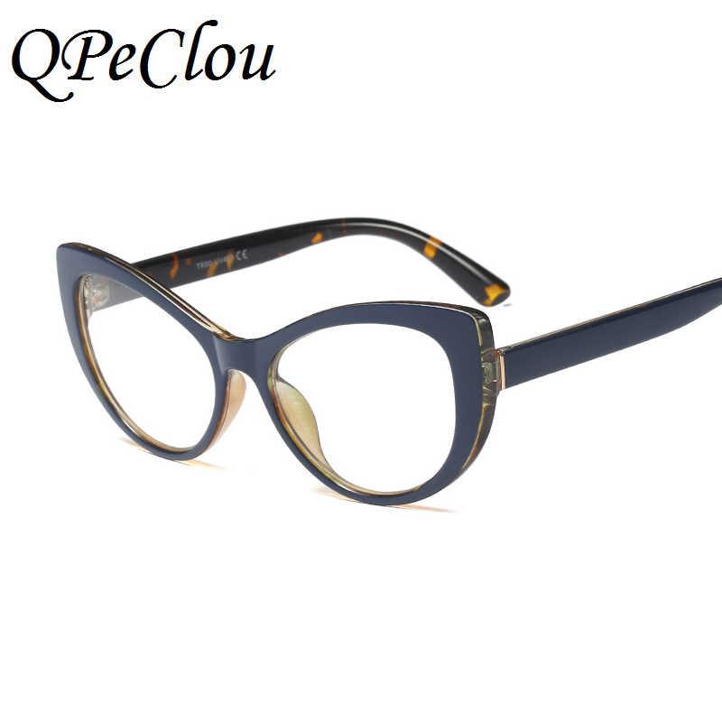 f8e70d15e3a ... QPeClou Decorative Cat Eye Glasses Frame Women Fashion Floral Eyeglasses  Frame Female Cateye Clear Lens Glasses ...