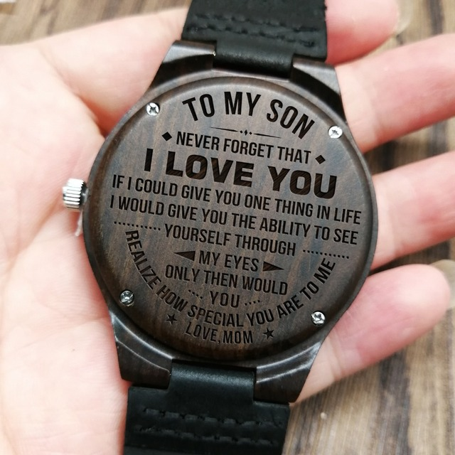 FROM MOM TO SON ENGRAVED WOODEN WATCH HOW SPECIAL YOU ARE TO ME