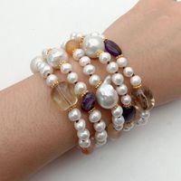 8'' 5 Rows Keshi Pearl Purple Yellow Gems Stone Bracelet